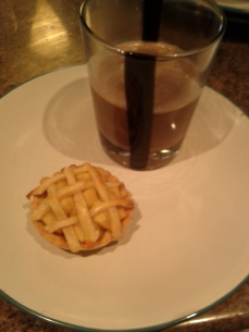 Apple pie and chocolate horchata