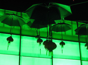 Green umbrellas