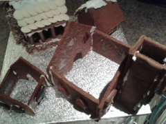 Gingerbread house in construction